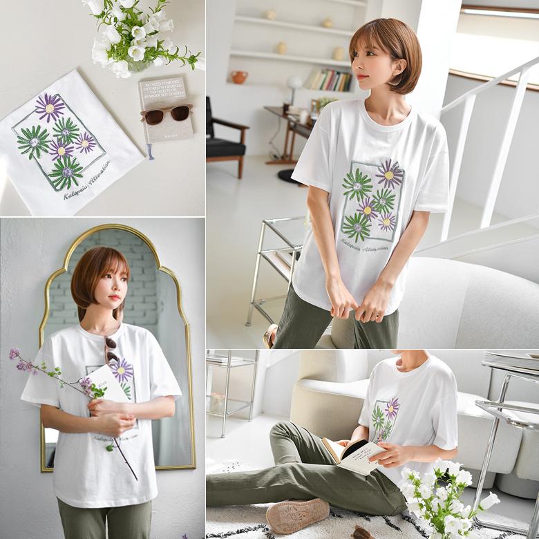 midasb-[코스모스 자수 레터링 티셔츠]♡韓國女裝上衣
