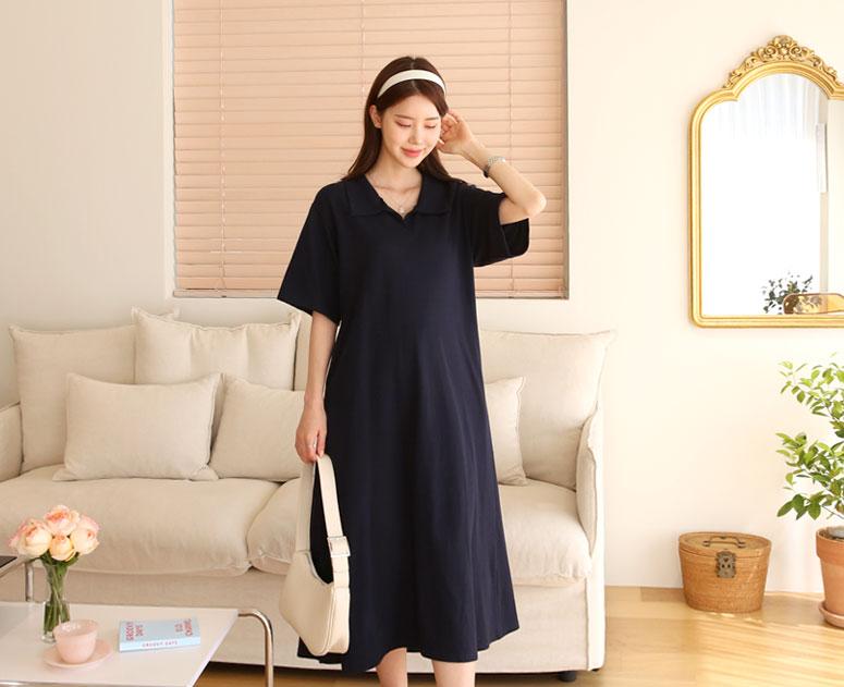 happy10-[*신상5% 기간한정할인*임부복*피케 오픈카라 원피스]♡韓國孕婦裝連身裙