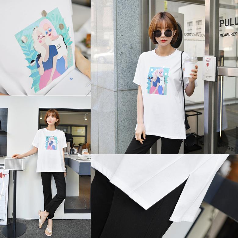 midasb-[걸크러쉬 나염 옆트임 티셔츠]♡韓國女裝上衣