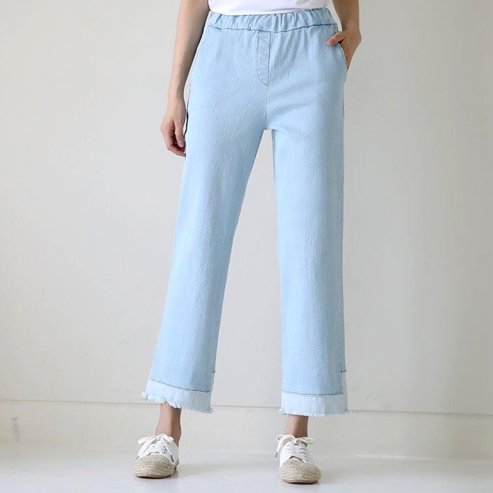 lemite-유니크 배색데님팬츠(19일까지15%프리오더!허리전체밴딩)♡韓國女裝褲