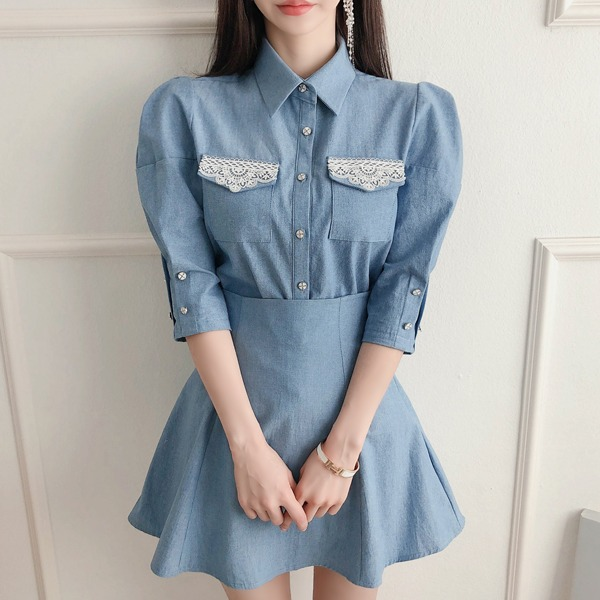 babinpumkin-로로오브 데님 블라우스♡韓國女裝上衣