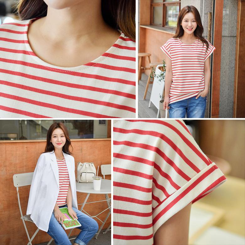 midasb-[루티아 단가라 캡소매 티셔츠]♡韓國女裝上衣