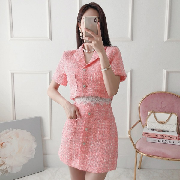 babinpumkin-뷰티여신 트위드 투피스(자켓+스커트)♡韓國女裝套裝