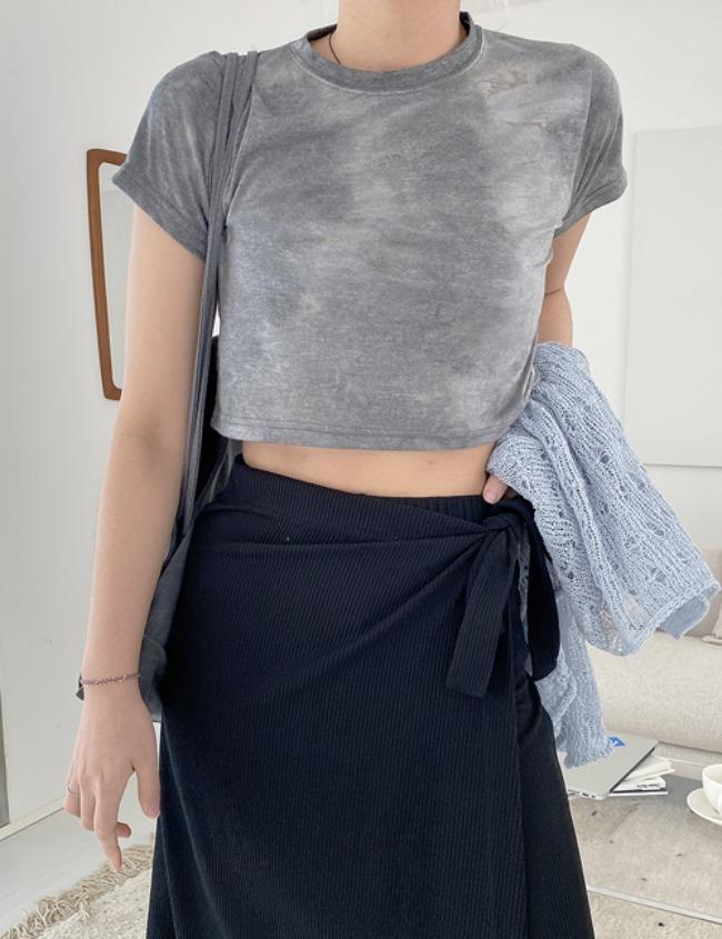 myclosetme-레이온 타이타이 크롭 티셔츠 (3color)♡韓國女裝上衣