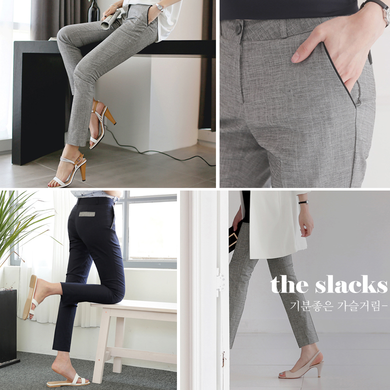 midasb-[비벳 배색 슬림 슬랙스]♡韓國女裝褲