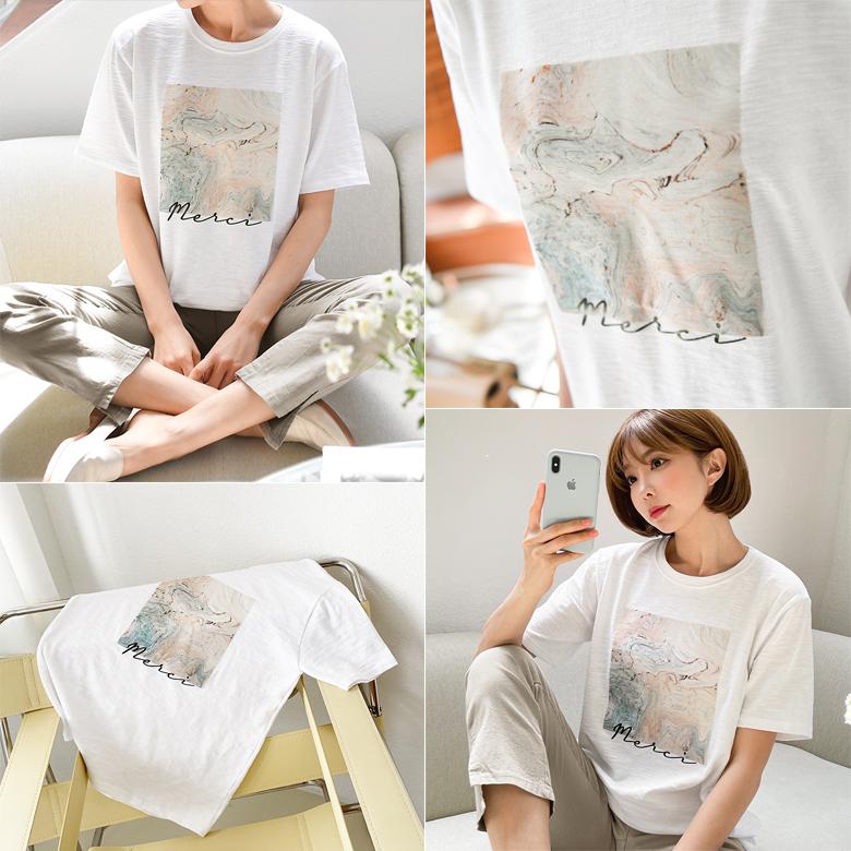 midasb-[푸앙 레터링 나염 티셔츠]♡韓國女裝上衣