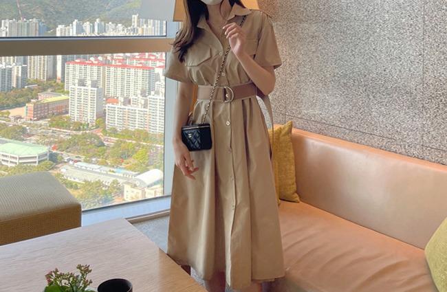 minsshop-(벨트set)호제 트렌치 사파리 원피스(주문폭주!)♡韓國女裝連身裙