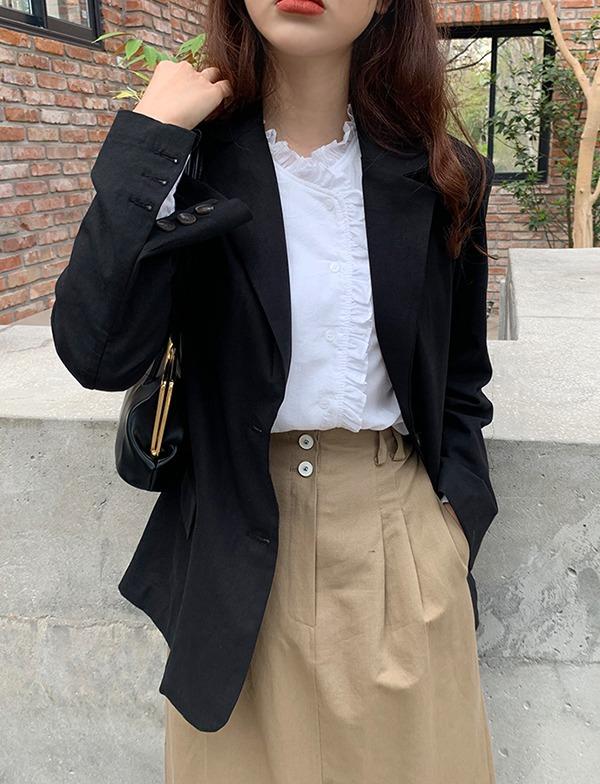 browncode-linen single jacket♡韓國女裝外套