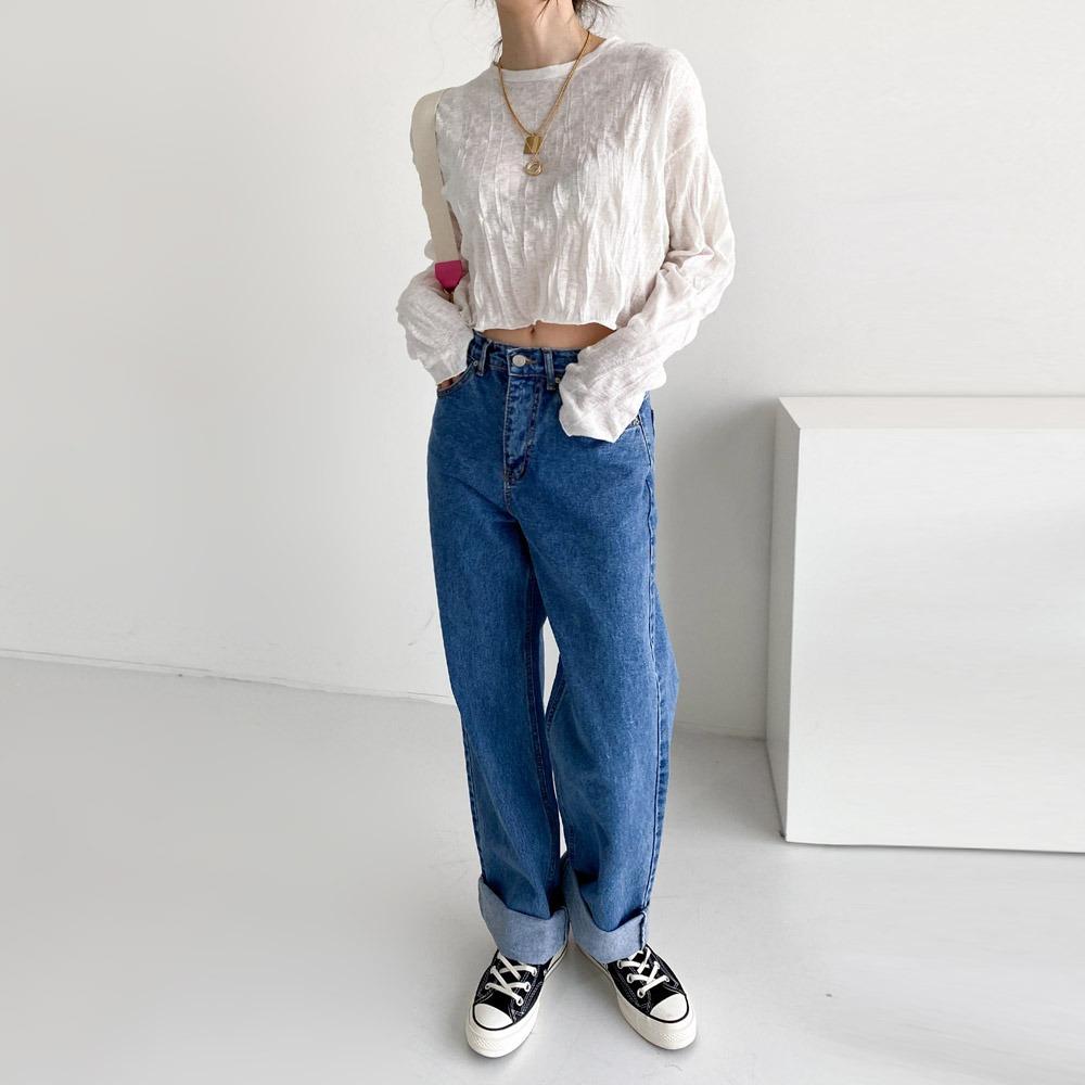 ppgirl-롤업 와이드 청바지pt H292♡韓國女裝褲