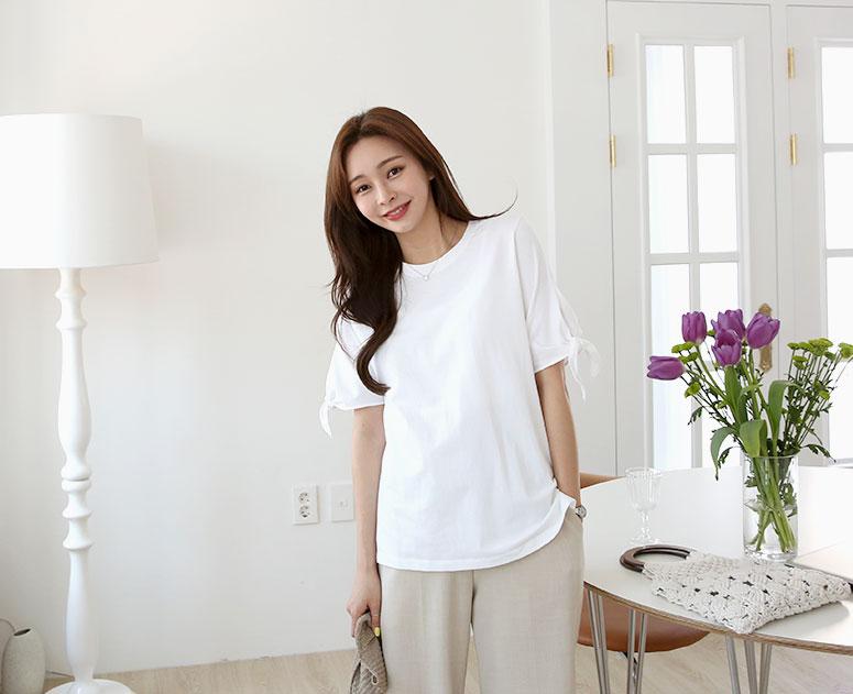 happy10-[*신상5% 기간한정할인*임부복*리본매듭포인 티]♡韓國孕婦裝上衣