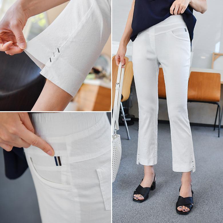 midasb-[마킨 린넨 부츠컷 팬츠 [전체밴딩]]♡韓國女裝褲