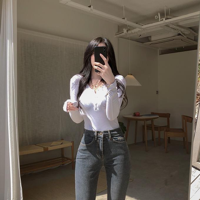 henique-칸나 단추 크롭 티셔츠 (아이보리/그레이/블랙)♡韓國女裝上衣