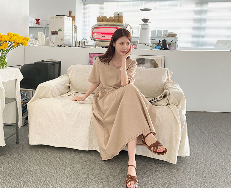 happy10-[*신상5% 기간한정할인*임부복*스티치포켓 원피스]♡韓國孕婦裝連身裙