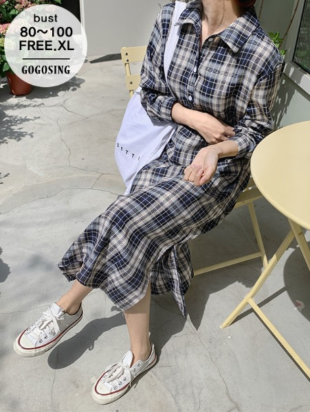 ggsing-[16일9시까지9%할인]컴포트 체크 롱원피스(롱,슬릿,가둘레,무료배송)♡韓國女裝連身裙