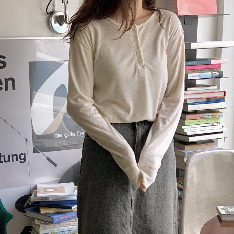 laurenhi-바든 골지 버튼 티셔츠 - 3 color♡韓國女裝上衣
