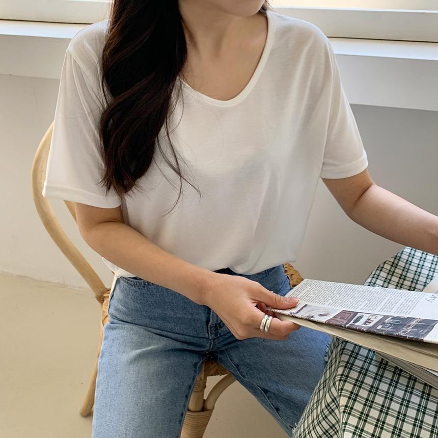 envylook-소프트샌딩반팔티셔츠♡韓國女裝上衣