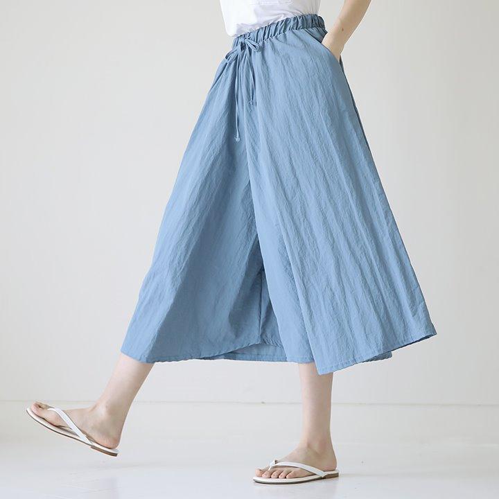 lemite-투머치 와이드팬츠(허리전체밴딩)♡韓國女裝褲