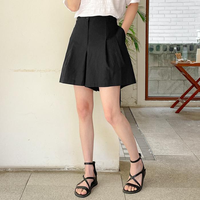 09women-[멜빅 베이직 핀턱 뒷밴딩 3부 팬츠 58984]♡韓國女裝褲