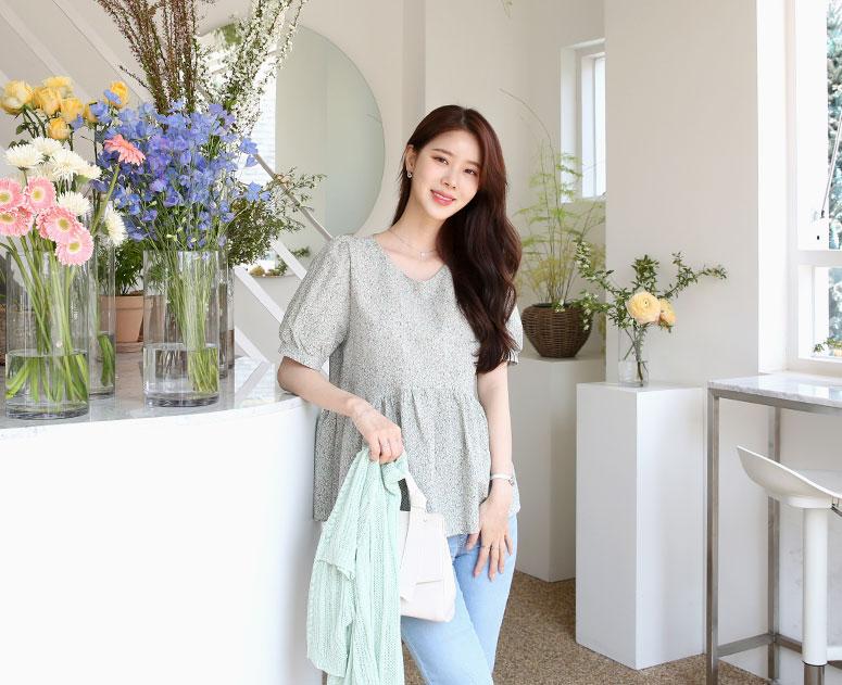 happy10-[*신상5% 기간한정할인*임부복*플라워봉봉 블라우스]♡韓國孕婦裝上衣