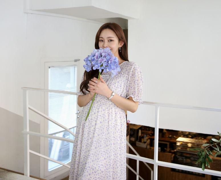 happy10-[*신상5% 기간한정할인*임부복*라일락쉬폰 원피스]♡韓國孕婦裝連身裙
