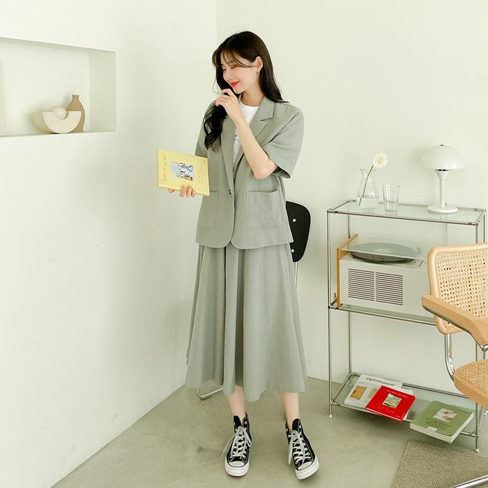 09women-[플렌트 린넨 자켓 스커트 세트 58972]♡韓國女裝套裝
