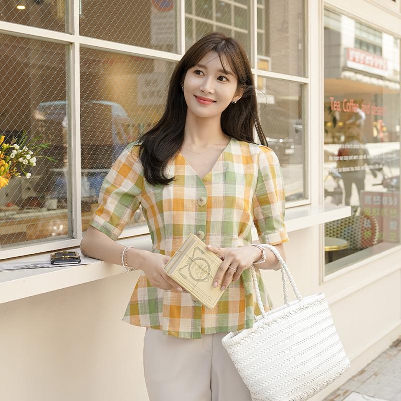 clicknfunny-체렌 체크블라우스♡韓國女裝上衣