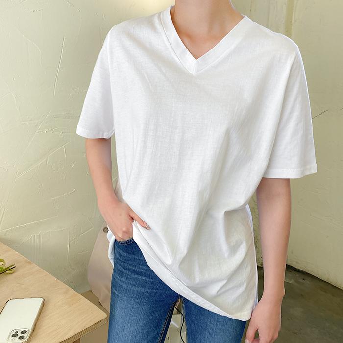 09women-[펌키 브이넥 티셔츠 58939]♡韓國女裝上衣