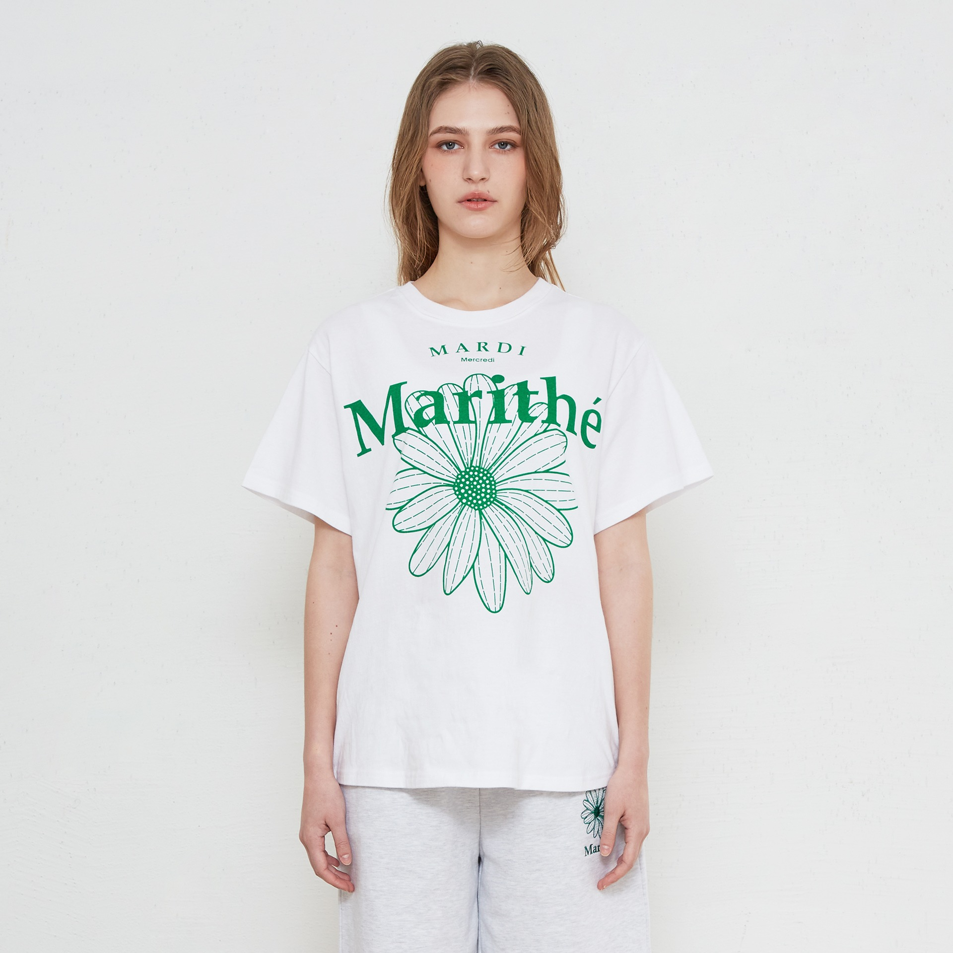 layer-MARITHE X MARDI MERCREDI GRAPHIC TEE white♡韓國男裝上衣