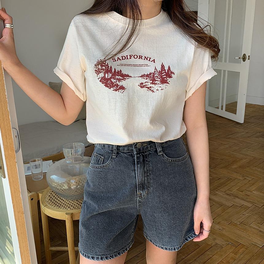 envylook-마운틴나염티셔츠♡韓國女裝上衣