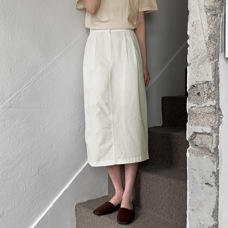 laurenhi-페론 투핀턱 H라인 롱 스커트 - 3 color♡韓國女裝裙