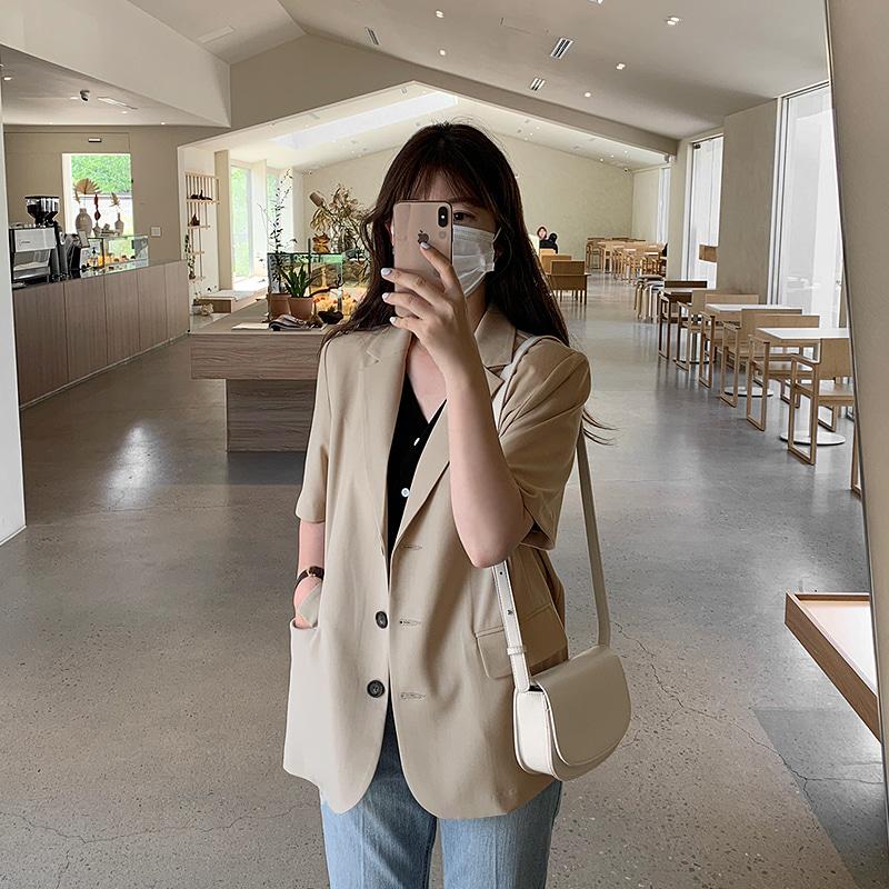 laurenhi-[Made Lauren]오브 싱글 미디 반팔 자켓 - 3 color♡韓國女裝外套