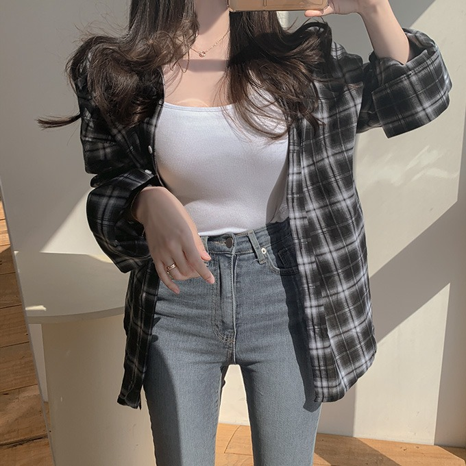 henique-캐주얼하게 루즈 체크 남방 셔츠 (블랙/아이보리)♡韓國女裝上衣