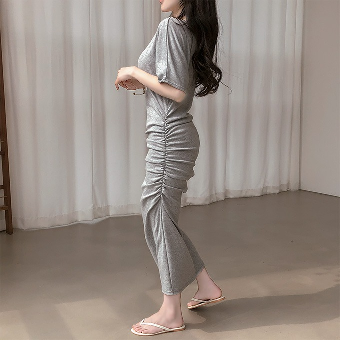 henique-레디액션 셔링 롱 기모 안감 반팔 원피스 (그레이/아이보리/블랙/브라운)♡韓國女裝連身裙