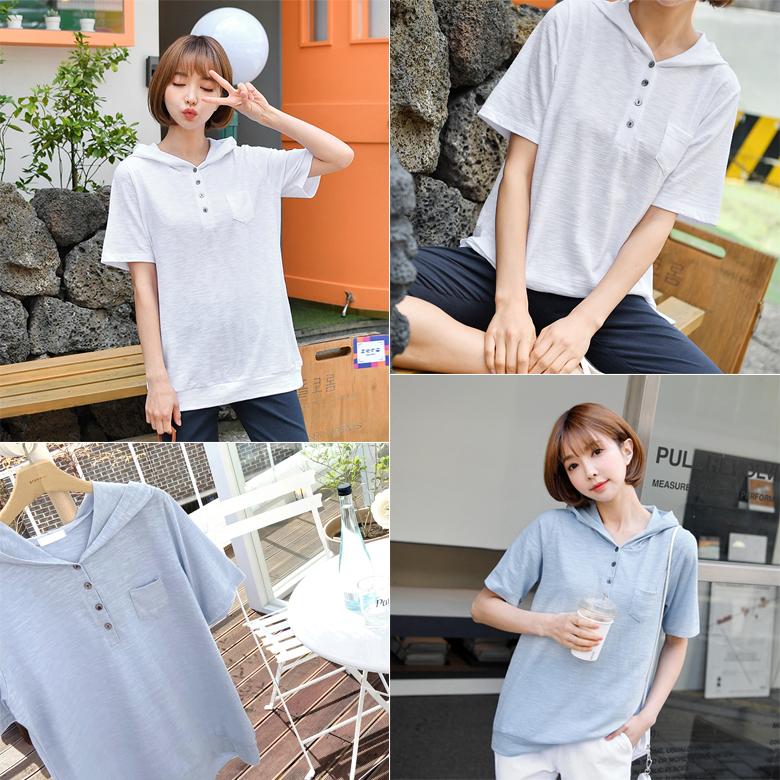 midasb-[스토 단추 후드 티셔츠]♡韓國女裝上衣