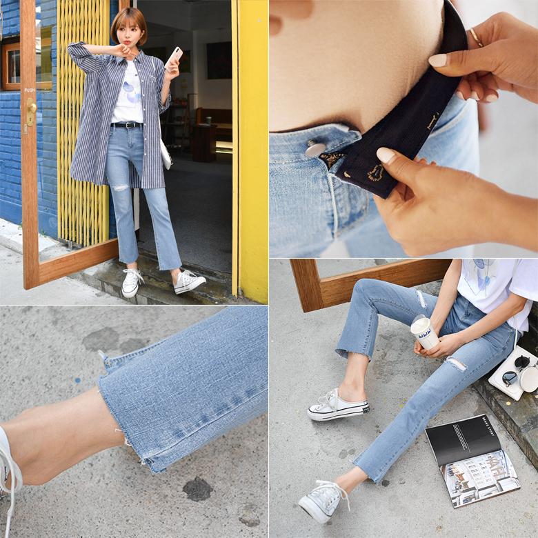 midasb-[우먼스 데미지 부츠컷 데님팬츠 [히든밴딩]]♡韓國女裝褲
