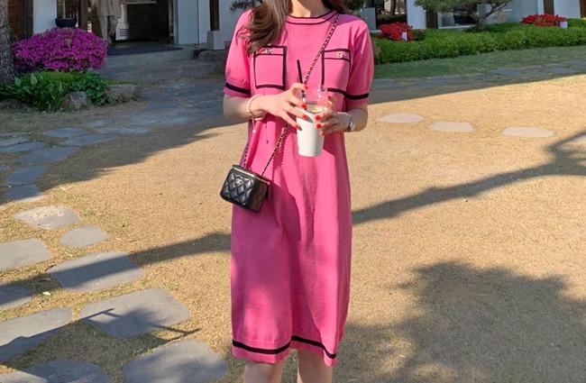 minsshop-마리에 배색 니트원피스 (주문폭주!)♡韓國女裝連身裙