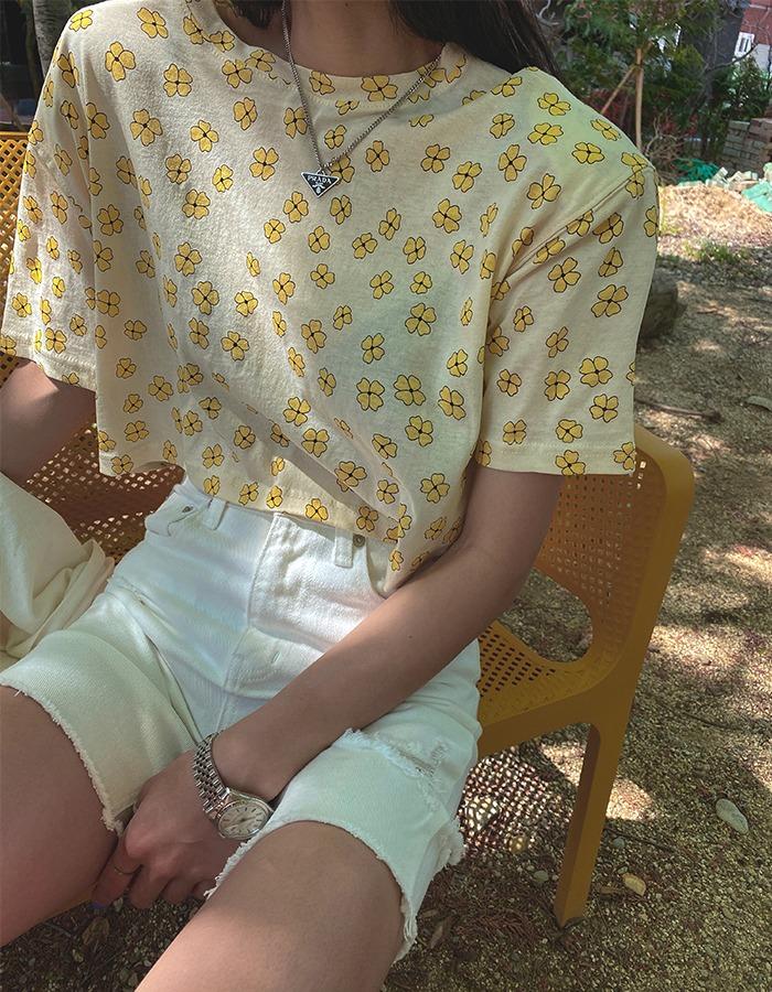 maymay-옐로우 플라워티♡韓國女裝上衣