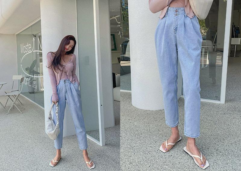 maybins-베코 투버튼 데님 팬츠♡韓國女裝褲