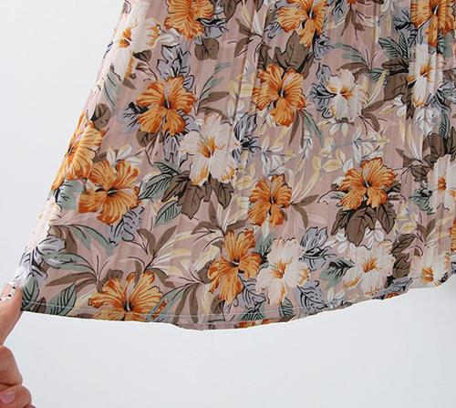 beige blanc-파라다이스 플라워 플리츠 와이드 팬츠]♡韓國女裝褲