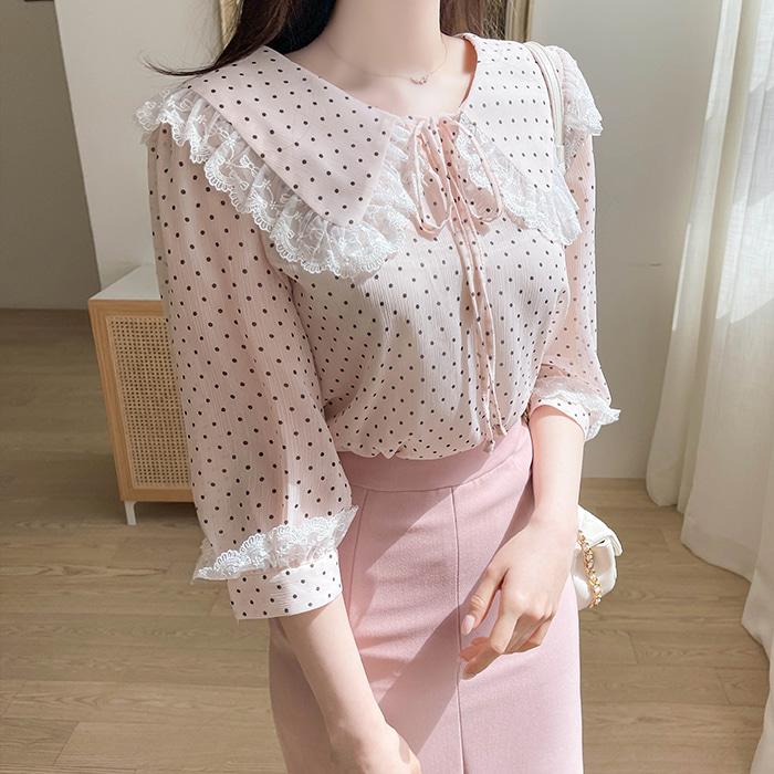 myfiona-걸스도트 레이스카라 블라우스 a1436 - 러블리 로맨틱 1위 쇼핑몰 피오나♡韓國女裝上衣