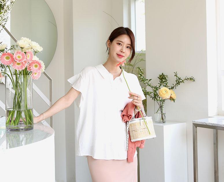 happy10-[*신상5% 기간한정할인*임부복*날개프릴소매 블라우스]♡韓國孕婦裝上衣