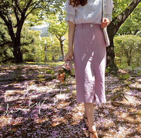 leelin-[스테이 린넨트임 스커트[size:F,1]]♡韓國女裝裙