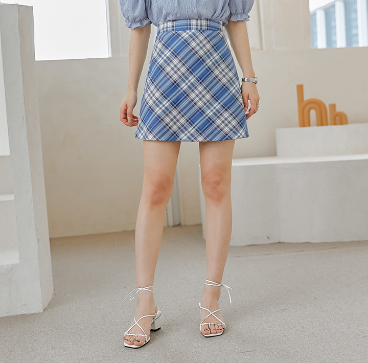 common-unique--보헤닌 체크 A 라인 미니 스커트♡韓國女裝裙