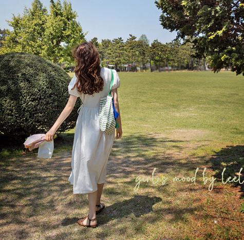 leelin-[캐더린 자가드 리본 원피스[size:F(55~66)]]♡韓國女裝連身裙