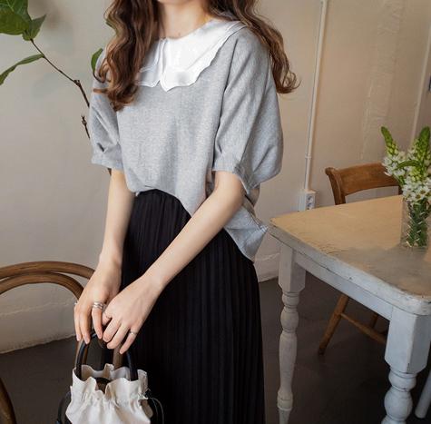 leelin-[키드먼 투카라 단아한 티[size:F,1] ]♡韓國女裝上衣