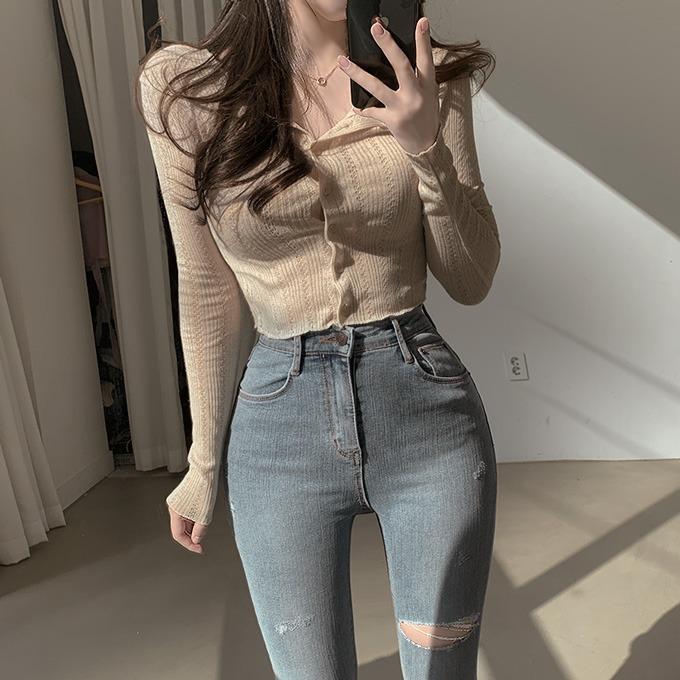 henique-커피향기 린넨 프릴 시스루 니트 크롭 가디건 (베이지/소라/아이보리/블랙)♡韓國女裝外套