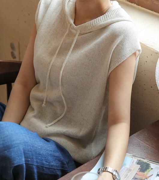 roompacker-룸페커 [커버업 린넨니트 후드탑]♡韓國女裝外套