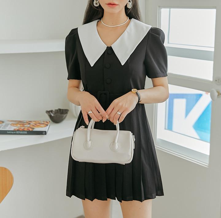 common-unique--루다 빅 카라 플리츠 미니 원피스♡韓國女裝連身裙