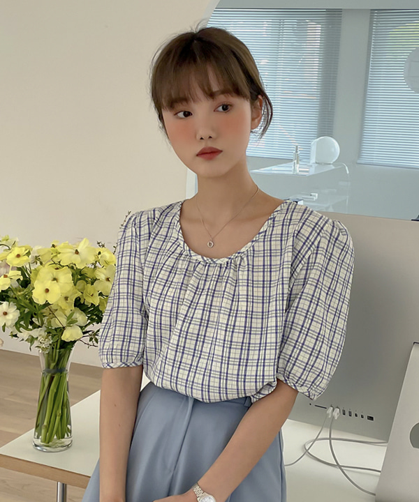 loveloveme-알프스 체크 셔링블라우스 | 럽미♡韓國女裝上衣