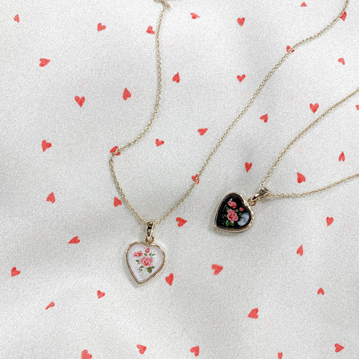 lagirl-플라워하트-necklace♡韓國女裝飾品